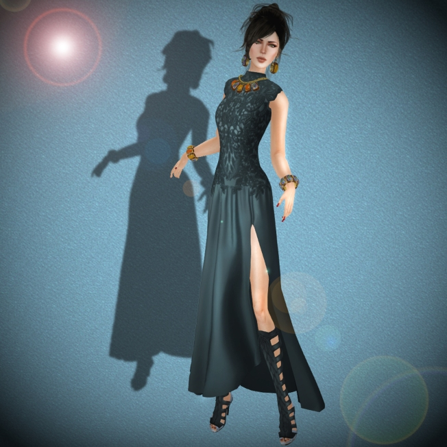 ISON - amelia lace gown teal