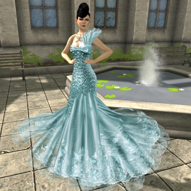KL Couture Lady Papillon Gown and Jewel set Water