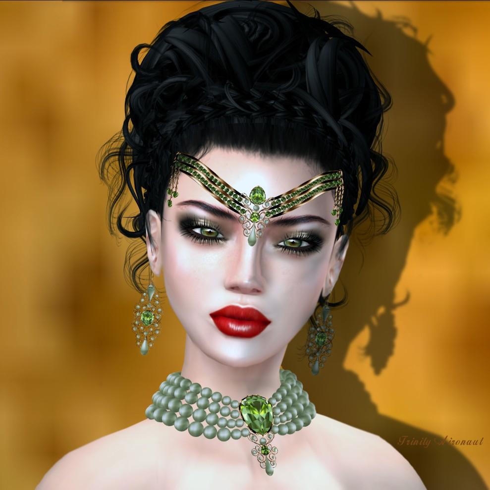 Zuri Rayna Antique Peridot Sage Pearl Gold V2 Set