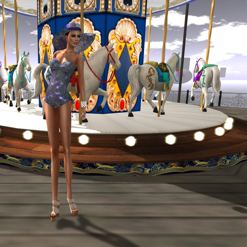 ghee Cyclamen Splash Swimsuit w matching Hat