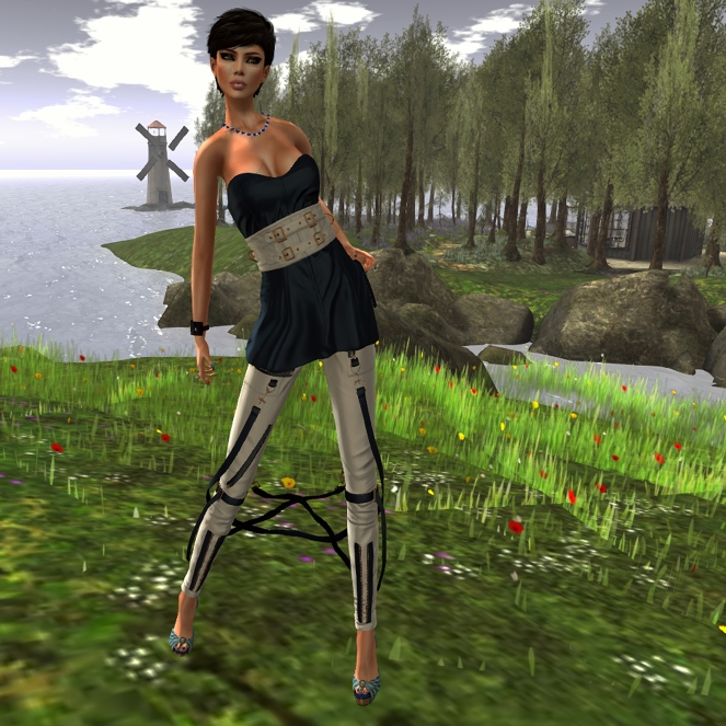 IceWater Augustina Belted Dress and Minnie Strapped Leather Pants