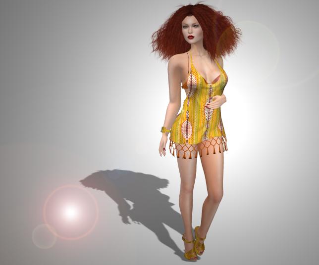 Miss Darcy Bali Hai Fringe Dress and Bra Orange