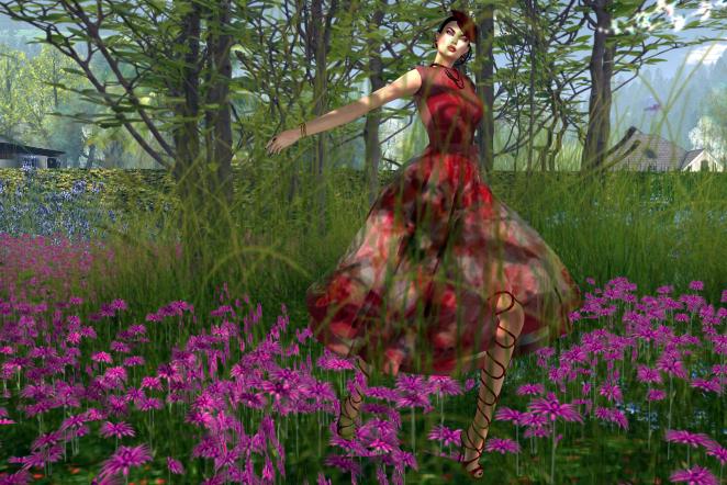 Snowpaws Anastacia Mesh Cocktail Dress Rose Garden